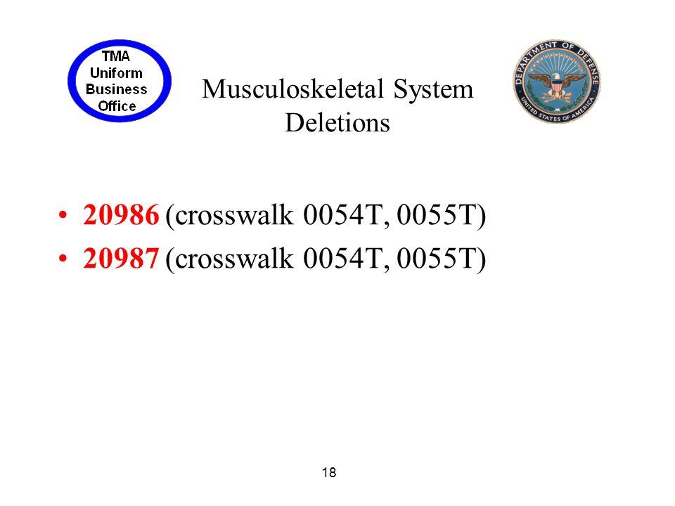18 Musculoskeletal System Deletions 20986 (crosswalk 0054T, 0055T) 20987 (crosswalk 0054T, 0055T)