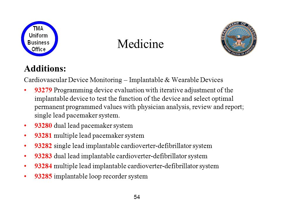 54 Medicine Additions: Cardiovascular Device Monitoring – Implantable & Wearable Devices 93279 Programming device evaluation with iterative adjustment