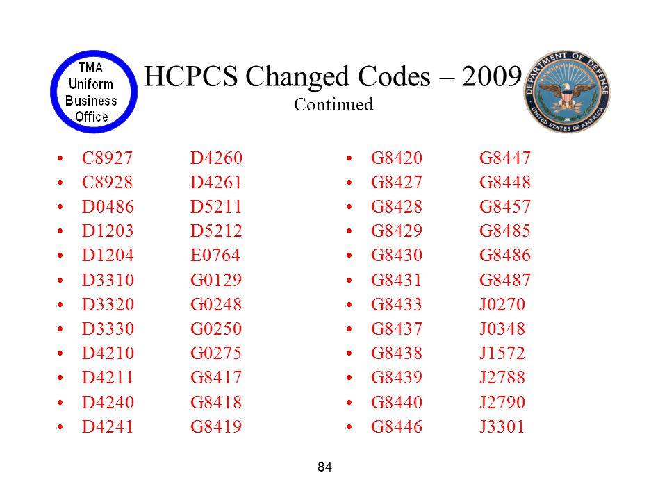 84 HCPCS Changed Codes – 2009 Continued C8927D4260 C8928D4261 D0486D5211 D1203D5212 D1204E0764 D3310G0129 D3320G0248 D3330G0250 D4210G0275 D4211G8417