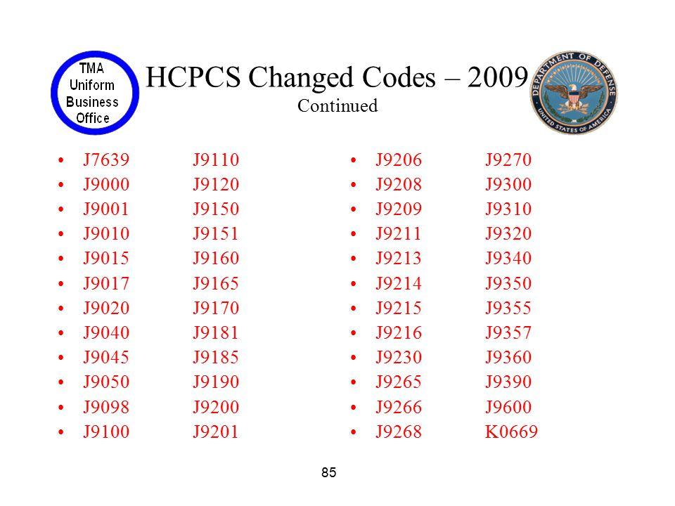 85 HCPCS Changed Codes – 2009 Continued J7639J9110 J9000J9120 J9001J9150 J9010J9151 J9015J9160 J9017J9165 J9020J9170 J9040J9181 J9045J9185 J9050J9190