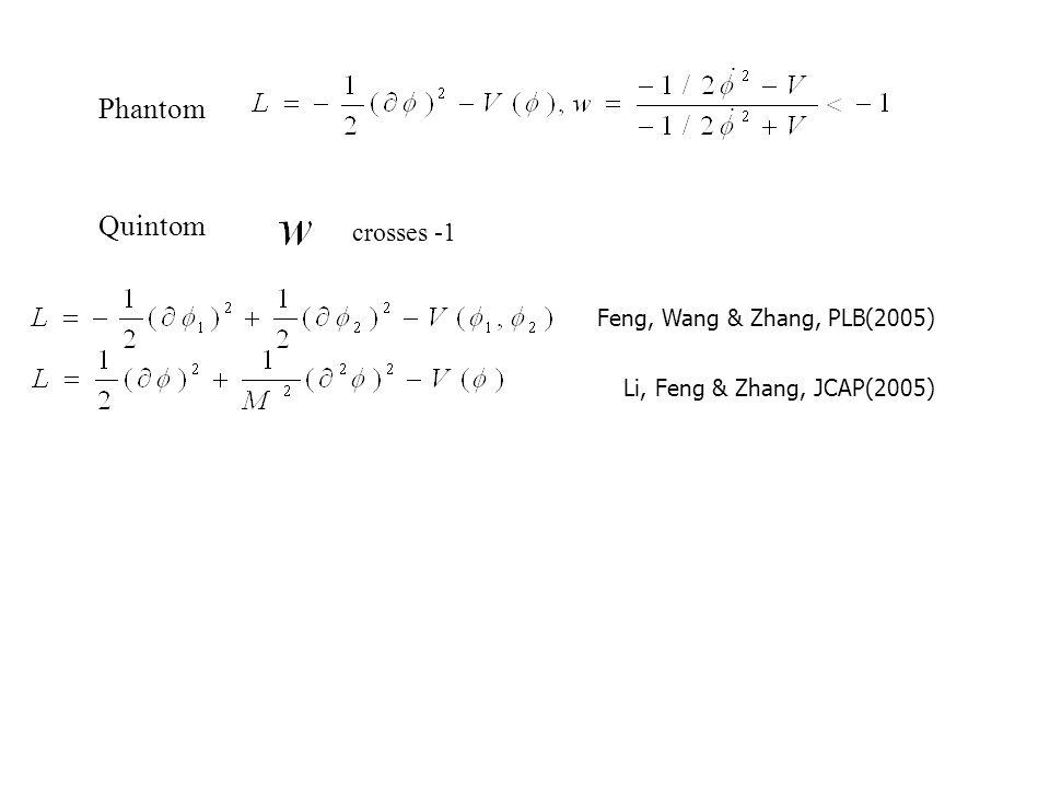 Phantom Quintessence Quintom A Quintom B Current constraints on dark energy models