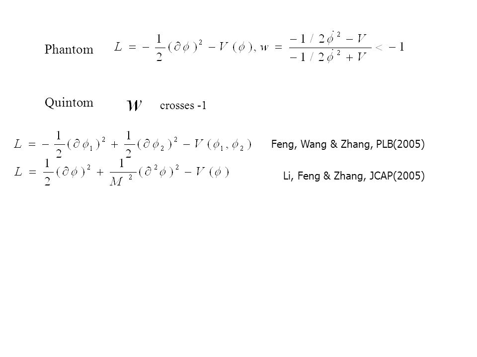 Phantom Quintom crosses -1 Feng, Wang & Zhang, PLB(2005) Li, Feng & Zhang, JCAP(2005)