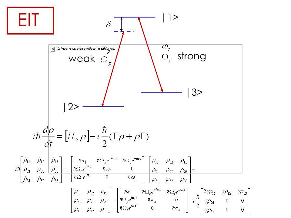 EIT |2> |1> |3> weak strong