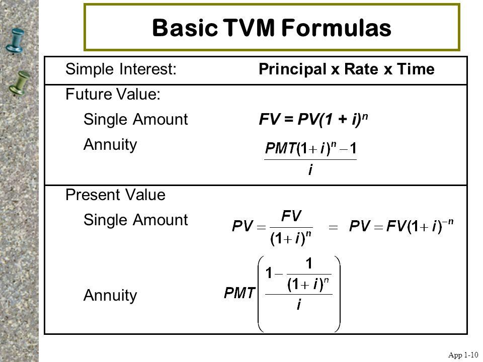 Basic TVM Formulas Simple Interest:Principal x Rate x Time Future Value: Single AmountFV = PV(1 + i) n Annuity Present Value Single Amount Annuity App