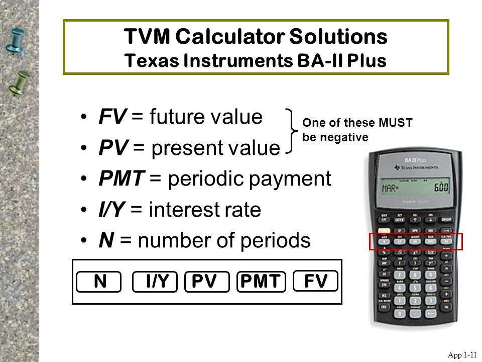 TVM Calculator Solutions Texas Instruments BA-II Plus FV = future value PV = present value PMT = periodic payment I/Y = interest rate N = number of pe