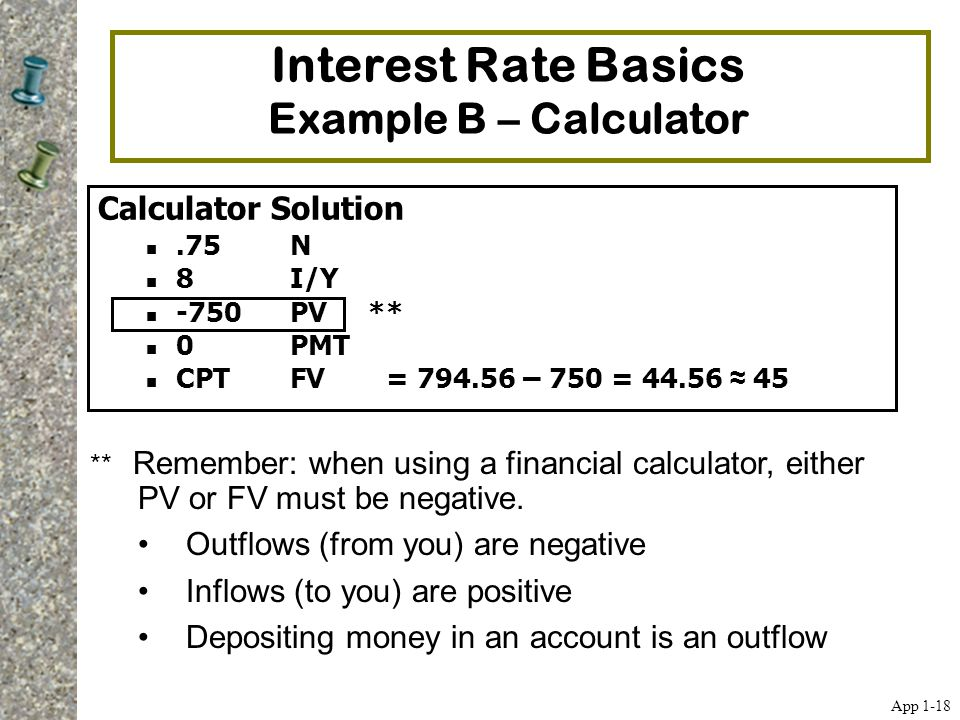 Interest Rate Basics Example B – Calculator Calculator Solution.75N 8I/Y -750 PV ** 0 PMT CPT FV = 794.56 – 750 = 44.56 ≈ 45 ** Remember: when using a