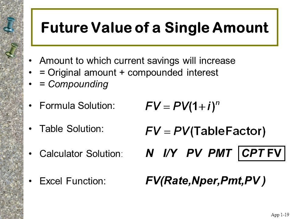 Future Value of a Single Amount Amount to which current savings will increase = Original amount + compounded interest = Compounding Formula Solution: