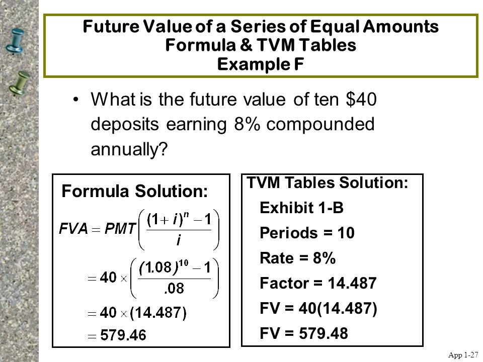 Future Value of a Series of Equal Amounts Formula & TVM Tables Example F What is the future value of ten $40 deposits earning 8% compounded annually?