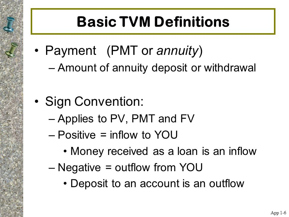 Basic TVM Definitions Payment (PMT or annuity) –Amount of annuity deposit or withdrawal Sign Convention: –Applies to PV, PMT and FV –Positive = inflow