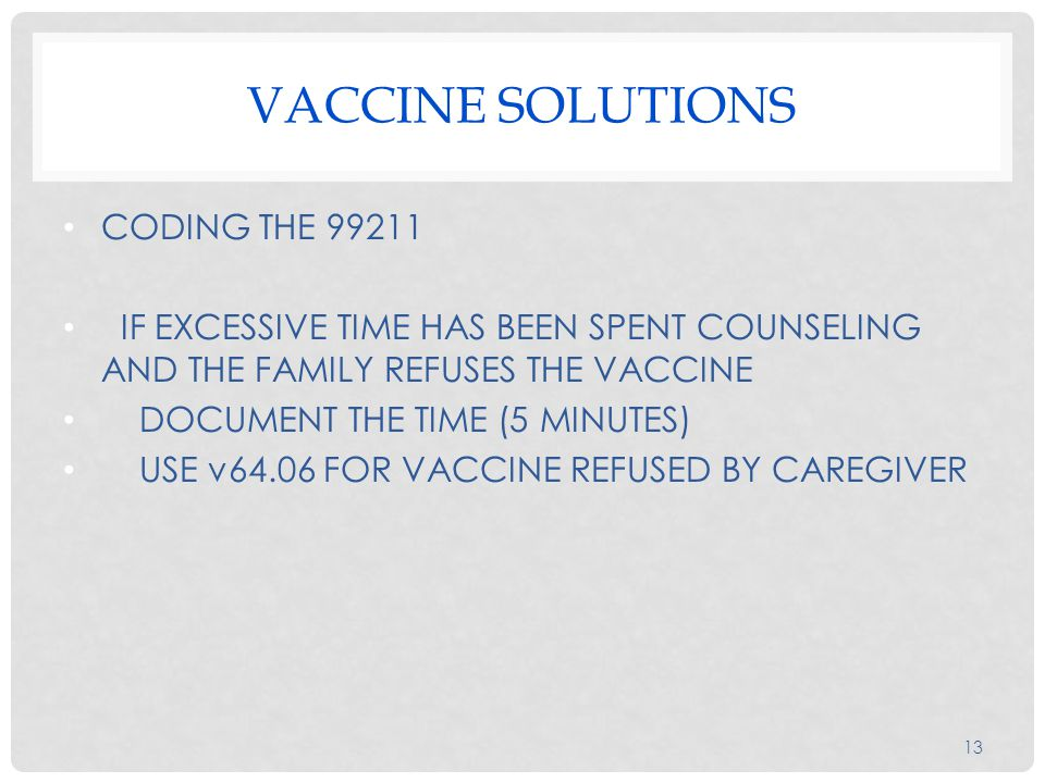 VACCINE SOLUTIONS CODING THE 99211 IF EXCESSIVE TIME HAS BEEN SPENT COUNSELING AND THE FAMILY REFUSES THE VACCINE DOCUMENT THE TIME (5 MINUTES) ‏ USE v64.06 FOR VACCINE REFUSED BY CAREGIVER 13
