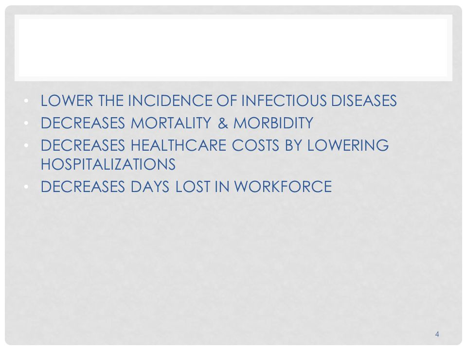 LOWER THE INCIDENCE OF INFECTIOUS DISEASES DECREASES MORTALITY & MORBIDITY DECREASES HEALTHCARE COSTS BY LOWERING HOSPITALIZATIONS DECREASES DAYS LOST