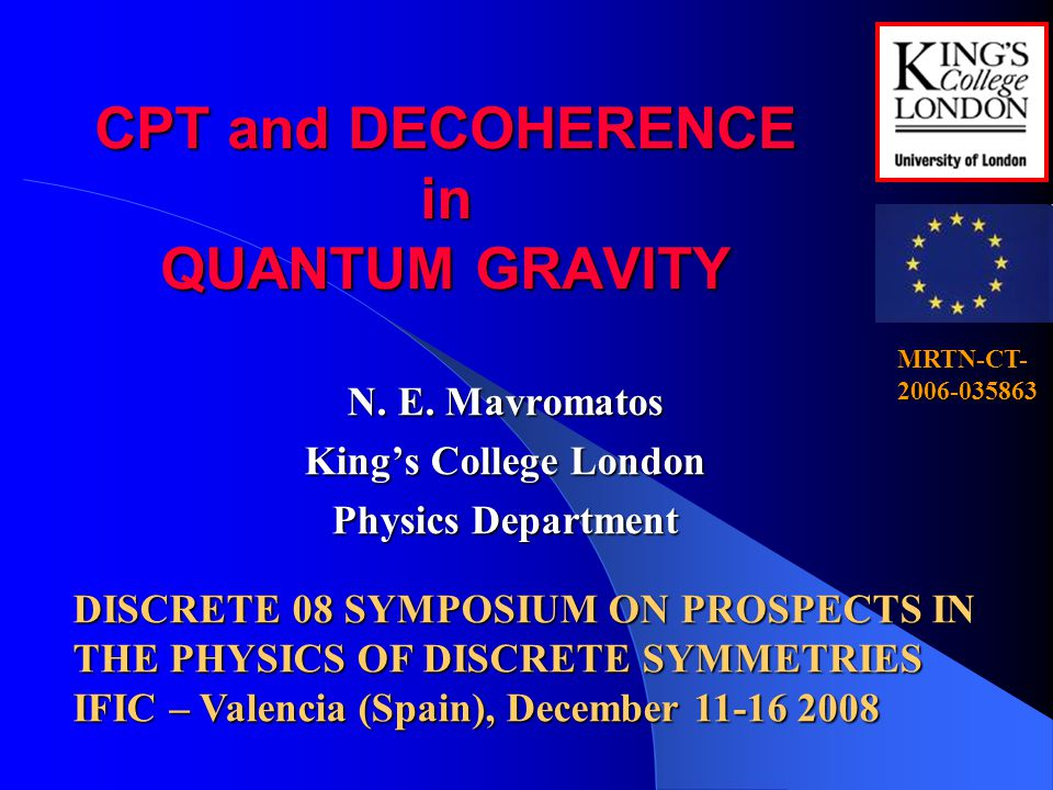 CPT and DECOHERENCE in QUANTUM GRAVITY N.E.