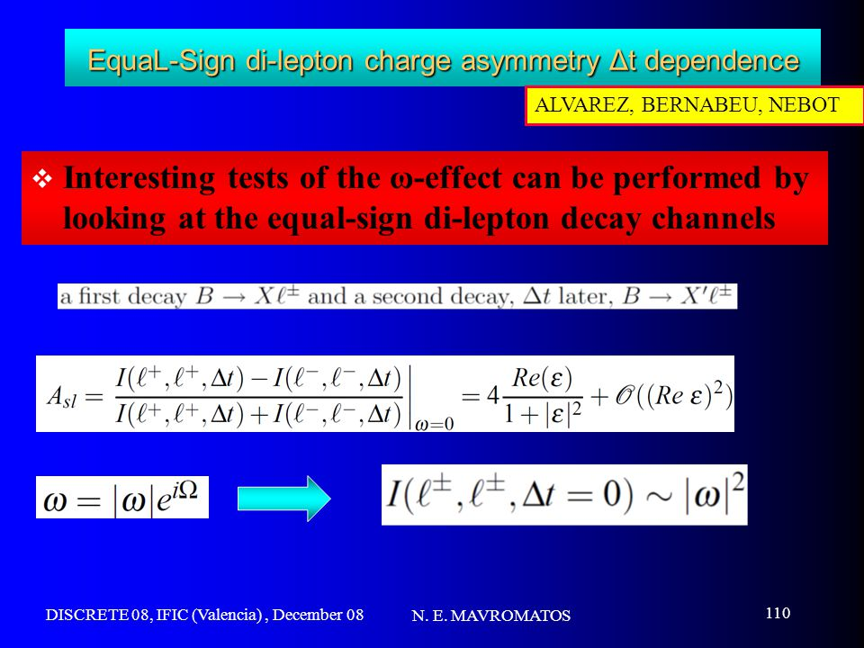DISCRETE 08, IFIC (Valencia), December 08 N. E. MAVROMATOS 110 EquaL-Sign di-lepton charge asymmetry Δt dependence  Interesting tests of the ω-effect