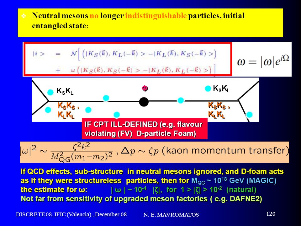 DISCRETE 08, IFIC (Valencia), December 08 N. E. MAVROMATOS 120 If QCD effects, sub-structure in neutral mesons ignored, and D-foam acts as if they wer