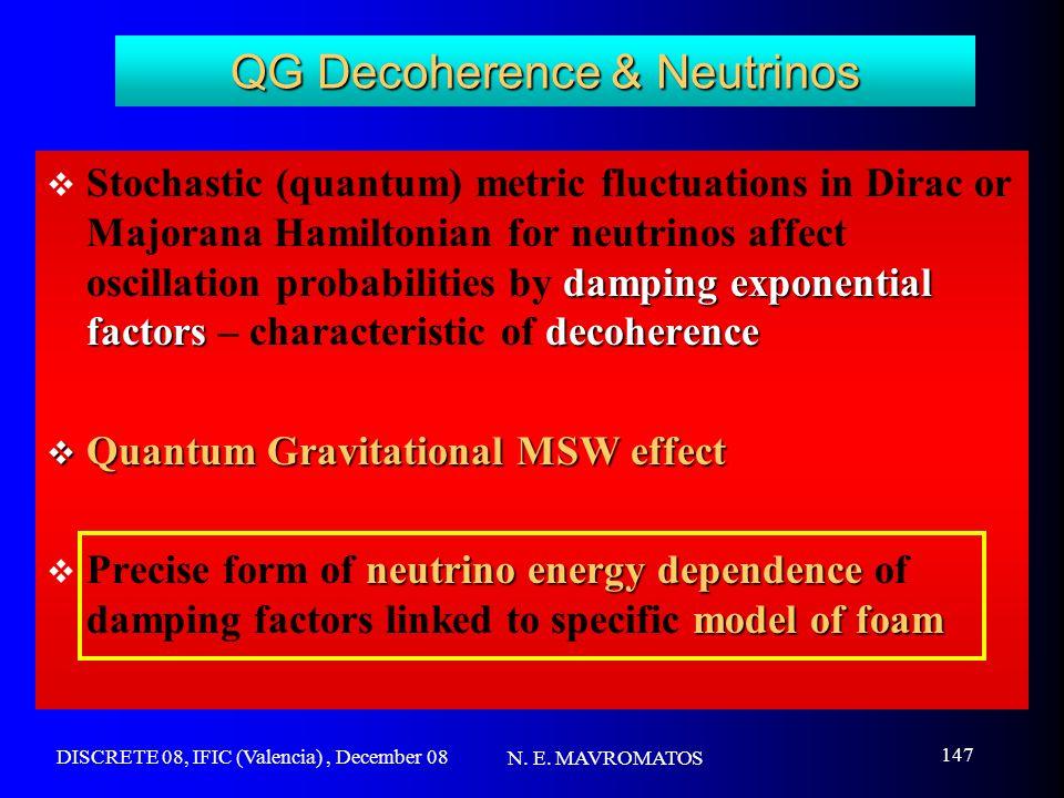 DISCRETE 08, IFIC (Valencia), December 08 N. E. MAVROMATOS 147 QG Decoherence & Neutrinos damping exponential factorsdecoherence  Stochastic (quantum