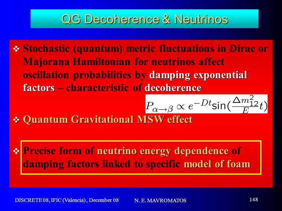 DISCRETE 08, IFIC (Valencia), December 08 N. E. MAVROMATOS 148 QG Decoherence & Neutrinos damping exponential factorsdecoherence  Stochastic (quantum