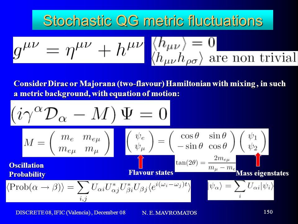 DISCRETE 08, IFIC (Valencia), December 08 N. E. MAVROMATOS 150 Stochastic QG metric fluctuations Consider Dirac or Majorana (two-flavour) Hamiltonian