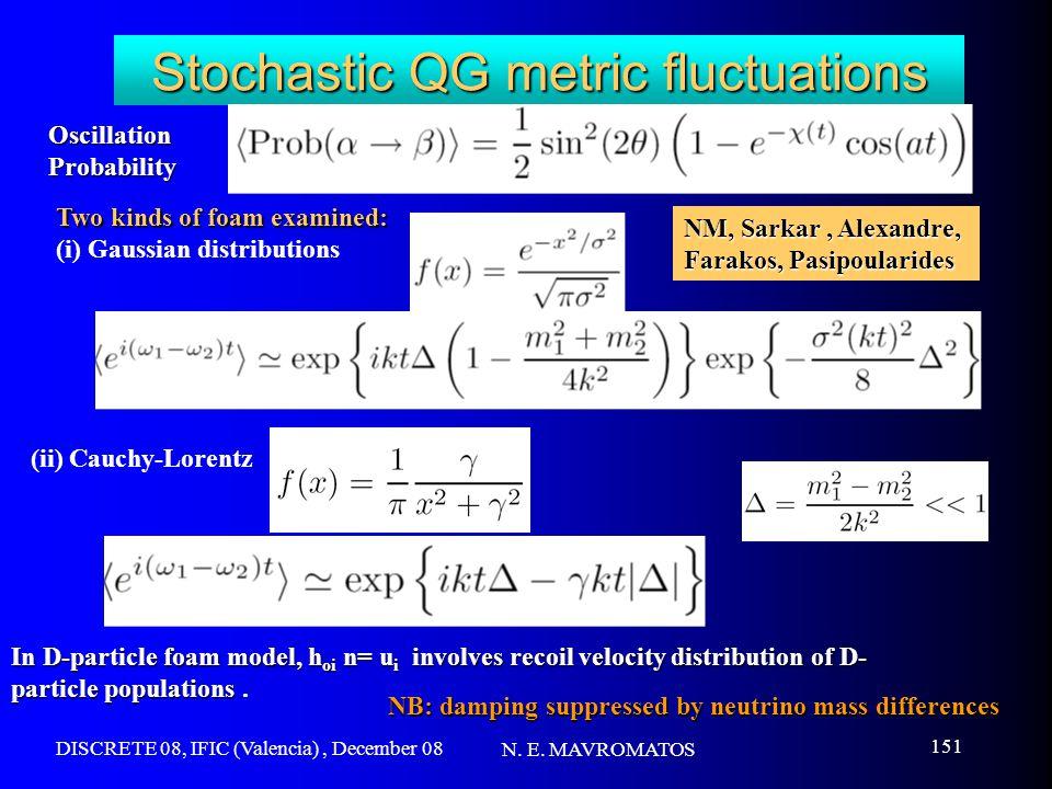 DISCRETE 08, IFIC (Valencia), December 08 N. E. MAVROMATOS 151 Stochastic QG metric fluctuations OscillationProbability Two kinds of foam examined: (i