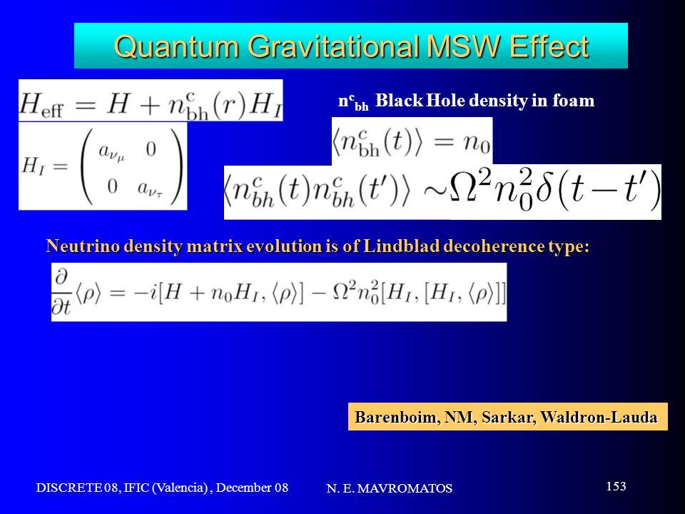 DISCRETE 08, IFIC (Valencia), December 08 N. E. MAVROMATOS 153 Quantum Gravitational MSW Effect n c bh Black Hole density in foam Neutrino density mat