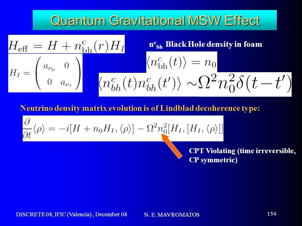 DISCRETE 08, IFIC (Valencia), December 08 N. E. MAVROMATOS 154 Quantum Gravitational MSW Effect n c bh Black Hole density in foam Neutrino density mat