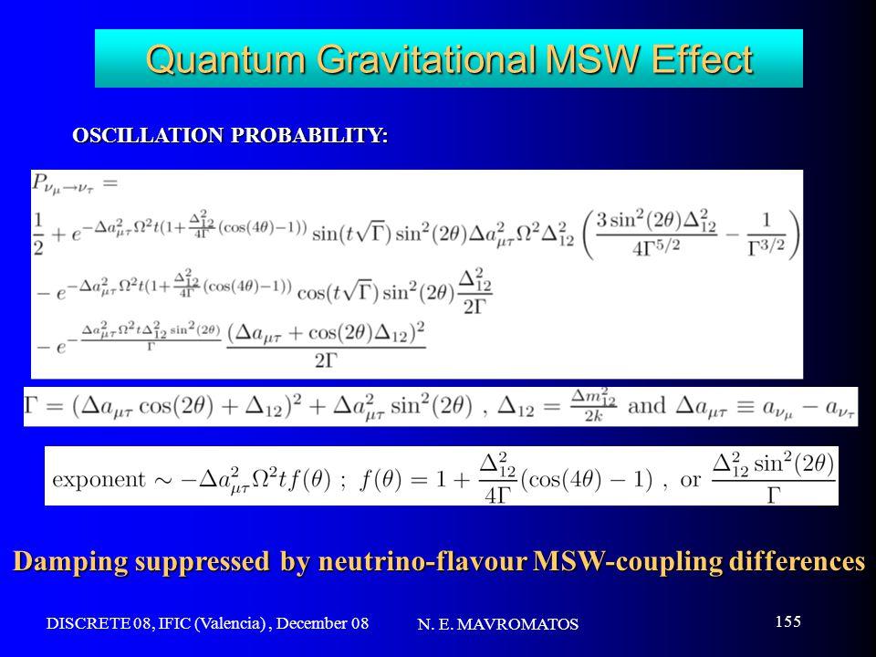 DISCRETE 08, IFIC (Valencia), December 08 N. E. MAVROMATOS 155 Quantum Gravitational MSW Effect OSCILLATION PROBABILITY: Damping suppressed by neutrin