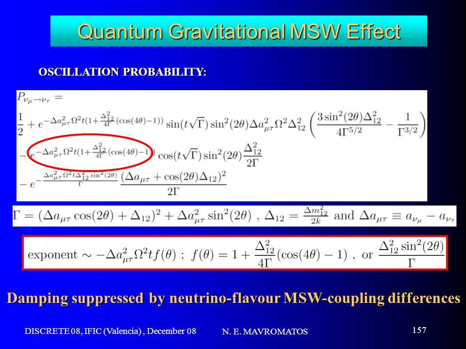DISCRETE 08, IFIC (Valencia), December 08 N. E. MAVROMATOS 157 Quantum Gravitational MSW Effect OSCILLATION PROBABILITY: Damping suppressed by neutrin