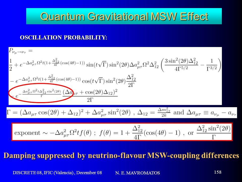 DISCRETE 08, IFIC (Valencia), December 08 N. E. MAVROMATOS 158 Quantum Gravitational MSW Effect OSCILLATION PROBABILITY: Damping suppressed by neutrin