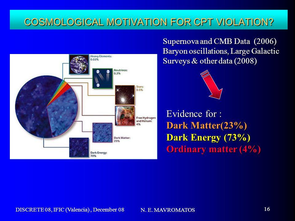 DISCRETE 08, IFIC (Valencia), December 08 N. E. MAVROMATOS 16 COSMOLOGICAL MOTIVATION FOR CPT VIOLATION? Supernova and CMB Data (2006) Baryon oscillat
