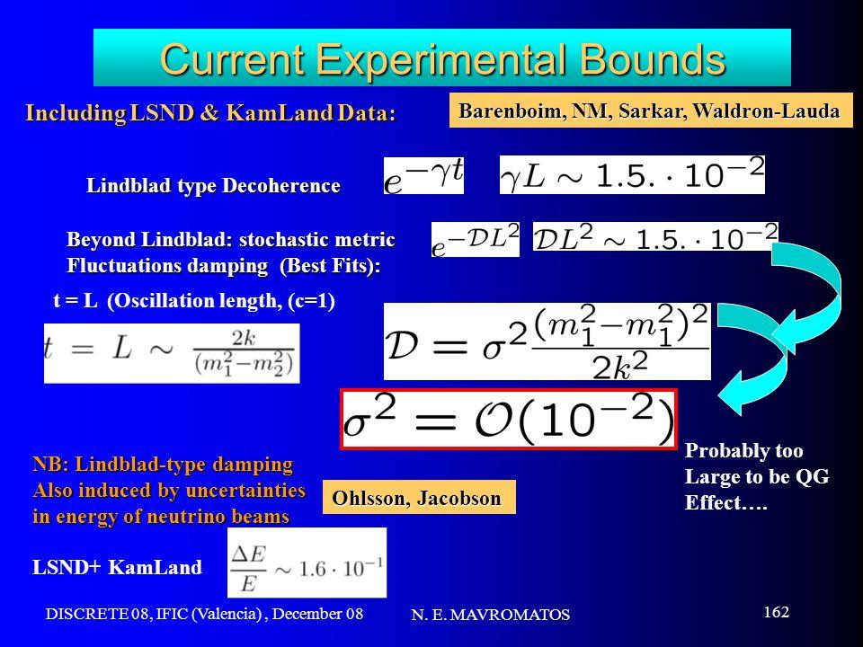 DISCRETE 08, IFIC (Valencia), December 08 N. E. MAVROMATOS 162 Current Experimental Bounds t = L (Oscillation length, (c=1) Including LSND & KamLand D