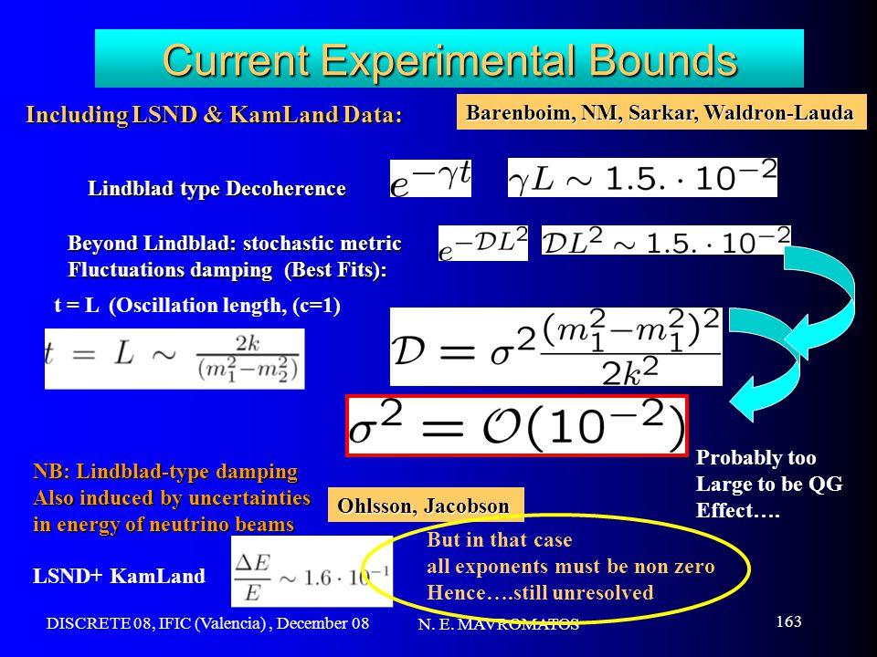 DISCRETE 08, IFIC (Valencia), December 08 N. E. MAVROMATOS 163 Current Experimental Bounds t = L (Oscillation length, (c=1) Including LSND & KamLand D