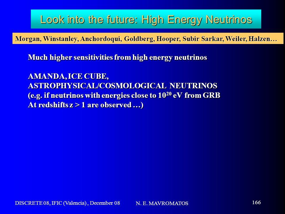 DISCRETE 08, IFIC (Valencia), December 08 N. E. MAVROMATOS 166 Look into the future: High Energy Neutrinos Much higher sensitivities from high energy