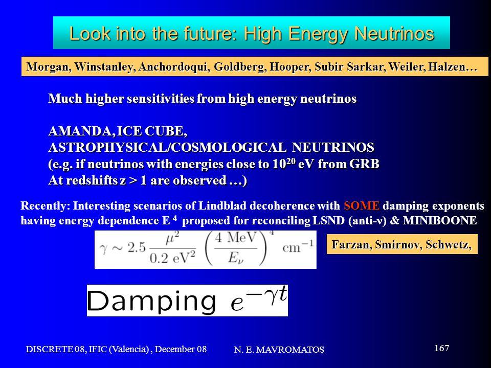 DISCRETE 08, IFIC (Valencia), December 08 N. E. MAVROMATOS 167 Look into the future: High Energy Neutrinos Much higher sensitivities from high energy