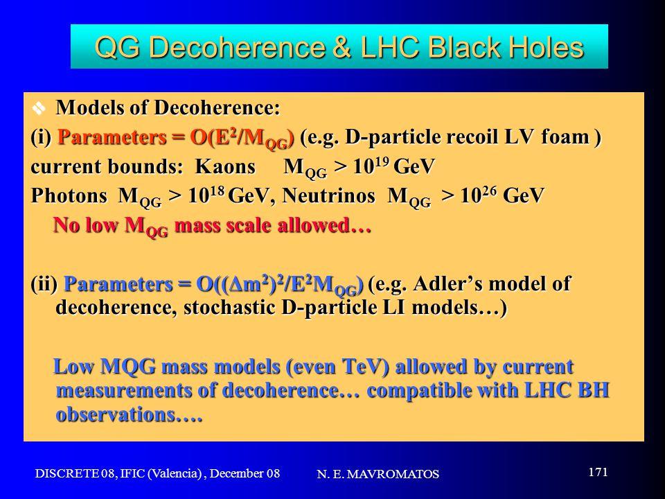 DISCRETE 08, IFIC (Valencia), December 08 N. E. MAVROMATOS 171 QG Decoherence & LHC Black Holes  Models of Decoherence: (i) Parameters = O(E 2 /M QG