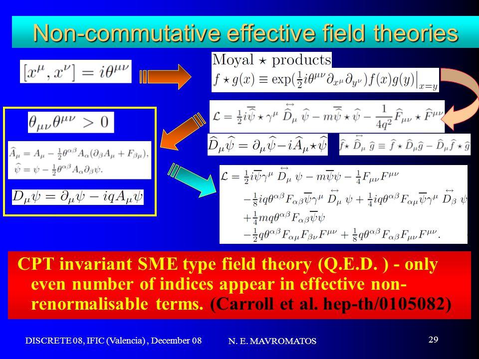 DISCRETE 08, IFIC (Valencia), December 08 N. E. MAVROMATOS 29 Non-commutative effective field theories CPT invariant SME type field theory (Q.E.D. ) -