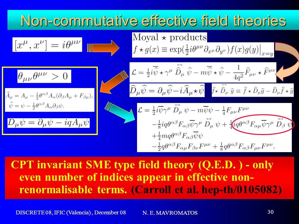 DISCRETE 08, IFIC (Valencia), December 08 N. E. MAVROMATOS 30 Non-commutative effective field theories CPT invariant SME type field theory (Q.E.D. ) -