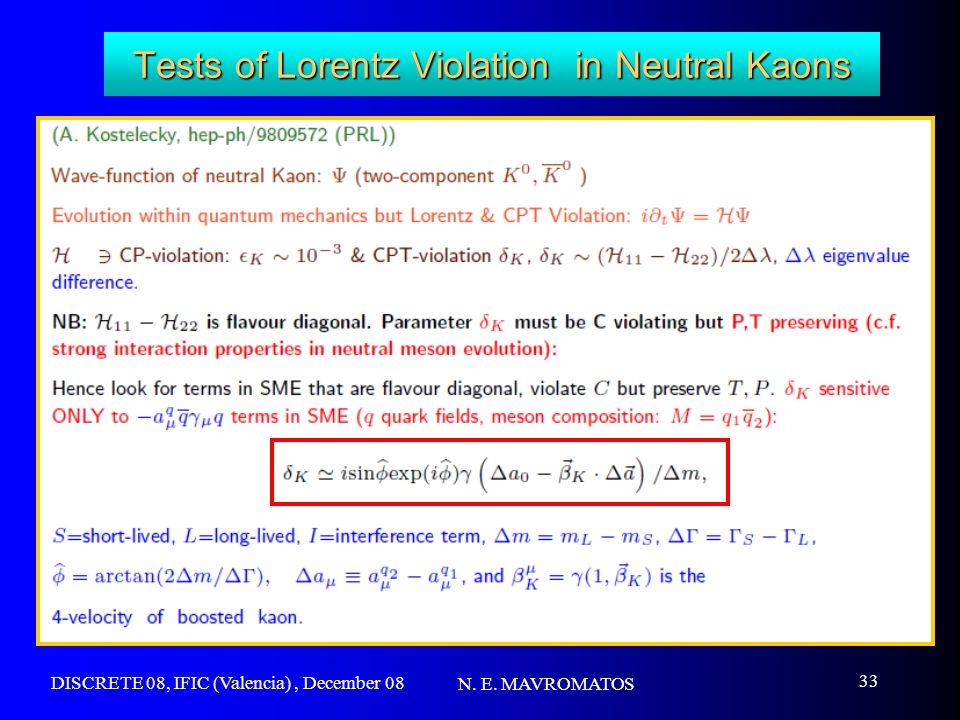 DISCRETE 08, IFIC (Valencia), December 08 N. E. MAVROMATOS 33 Tests of Lorentz Violation in Neutral Kaons