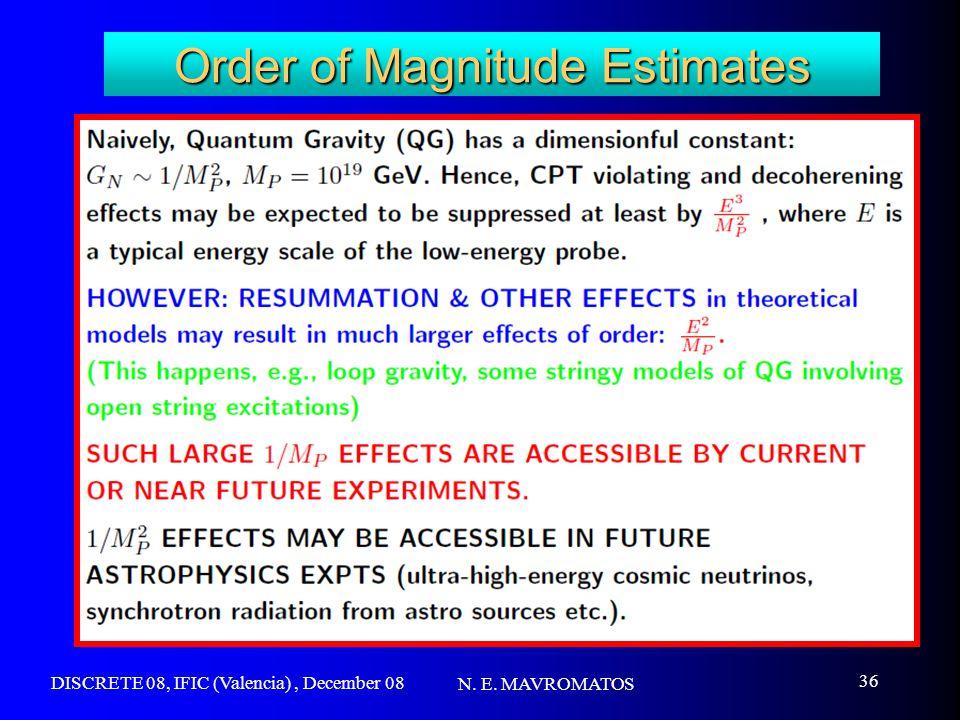 DISCRETE 08, IFIC (Valencia), December 08 N. E. MAVROMATOS 36 Order of Magnitude Estimates