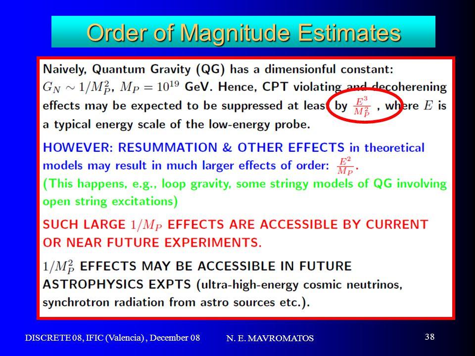 DISCRETE 08, IFIC (Valencia), December 08 N. E. MAVROMATOS 38 Order of Magnitude Estimates