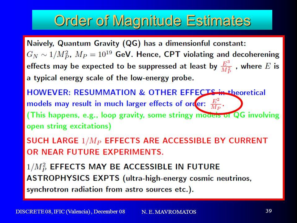 DISCRETE 08, IFIC (Valencia), December 08 N. E. MAVROMATOS 39 Order of Magnitude Estimates