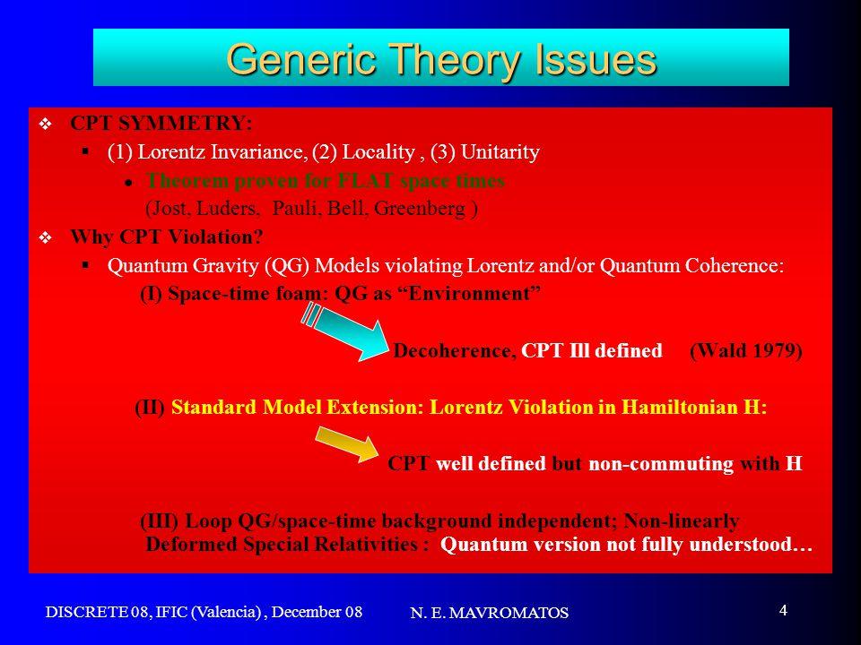 DISCRETE 08, IFIC (Valencia), December 08 N. E. MAVROMATOS 4 Generic Theory Issues  CPT SYMMETRY:  (1) Lorentz Invariance, (2) Locality, (3) Unitari