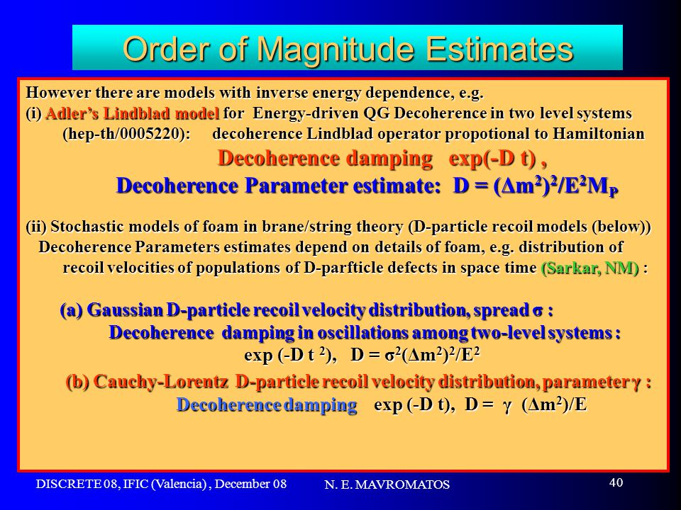 DISCRETE 08, IFIC (Valencia), December 08 N. E. MAVROMATOS 40 Order of Magnitude Estimates However there are models with inverse energy dependence, e.