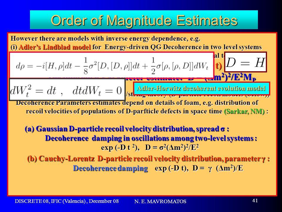 DISCRETE 08, IFIC (Valencia), December 08 N. E. MAVROMATOS 41 Order of Magnitude Estimates However there are models with inverse energy dependence, e.