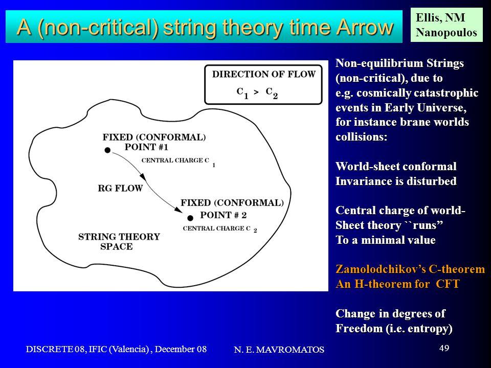 DISCRETE 08, IFIC (Valencia), December 08 N. E. MAVROMATOS 49 A (non-critical) string theory time Arrow Non-equilibrium Strings (non-critical), due to