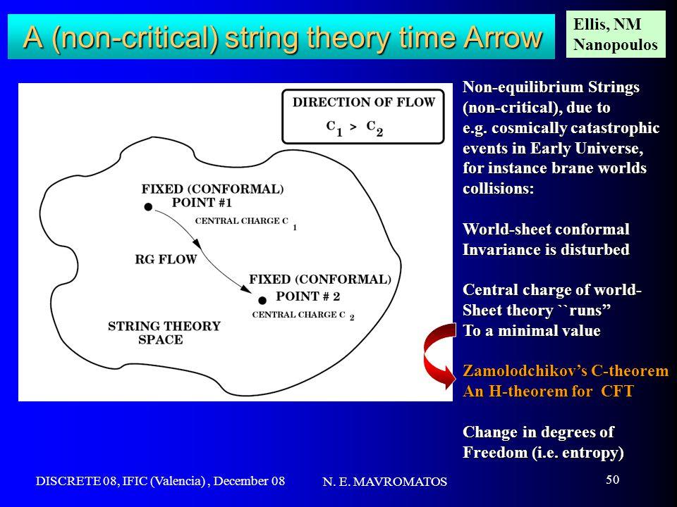 DISCRETE 08, IFIC (Valencia), December 08 N. E. MAVROMATOS 50 A (non-critical) string theory time Arrow Non-equilibrium Strings (non-critical), due to