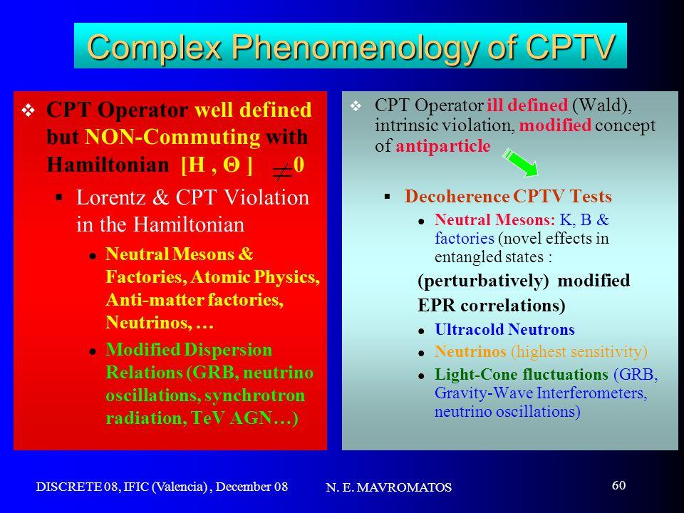 DISCRETE 08, IFIC (Valencia), December 08 N. E. MAVROMATOS 60 Complex Phenomenology of CPTV  CPT Operator well defined but NON-Commuting with Hamilto