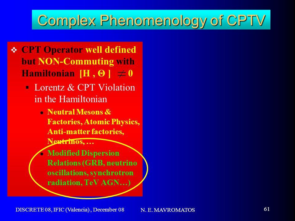 DISCRETE 08, IFIC (Valencia), December 08 N. E. MAVROMATOS 61 Complex Phenomenology of CPTV  CPT Operator well defined but NON-Commuting with Hamilto