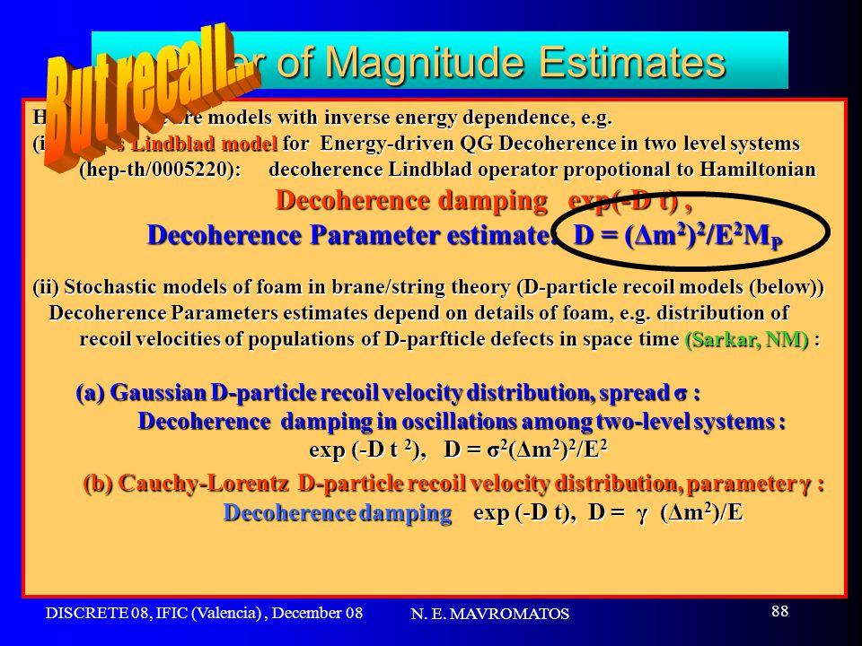 DISCRETE 08, IFIC (Valencia), December 08 N. E. MAVROMATOS 88 Order of Magnitude Estimates However there are models with inverse energy dependence, e.