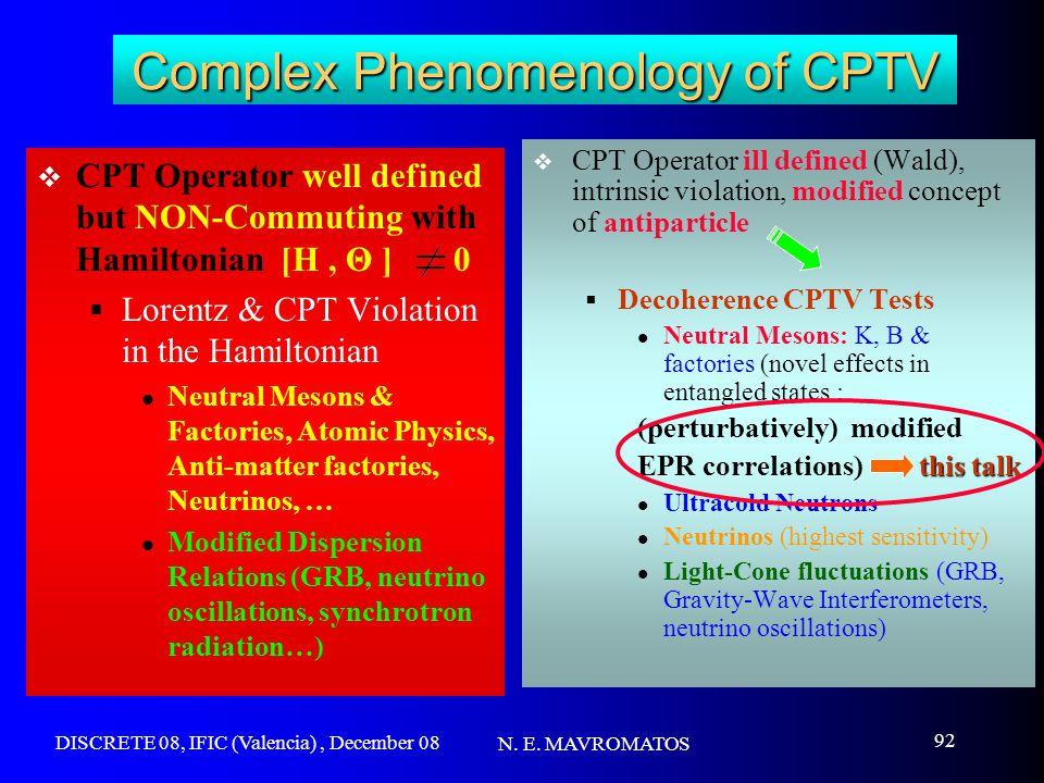 DISCRETE 08, IFIC (Valencia), December 08 N. E. MAVROMATOS 92 Complex Phenomenology of CPTV  CPT Operator well defined but NON-Commuting with Hamilto