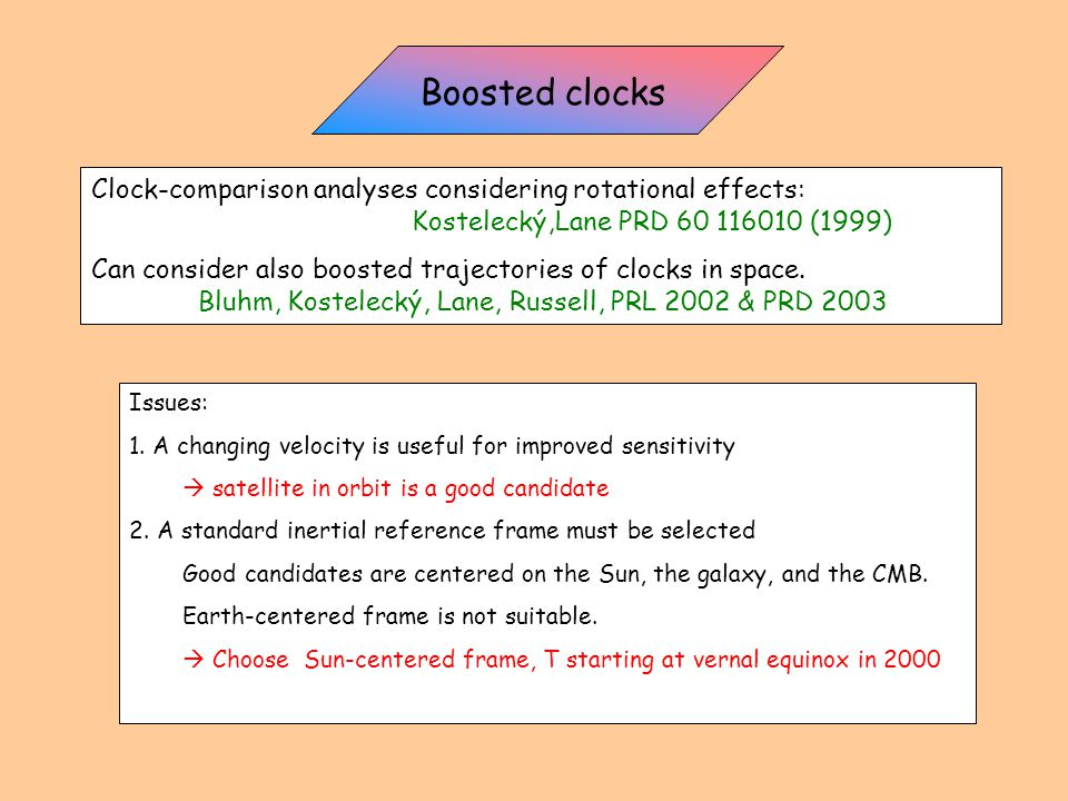 Clock-comparison analyses considering rotational effects: Kostelecký,Lane PRD 60 116010 (1999) Can consider also boosted trajectories of clocks in space.