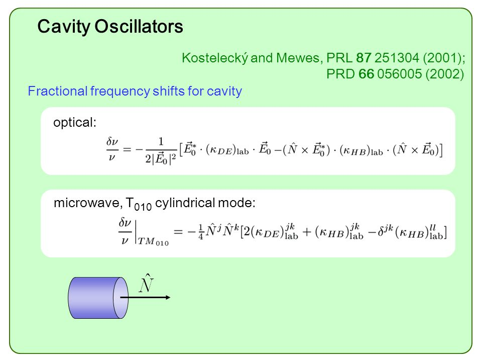 Cavity Oscillators optical: microwave, T 010 cylindrical mode: Fractional frequency shifts for cavity Kostelecký and Mewes, PRL 87 251304 (2001); PRD 66 056005 (2002)
